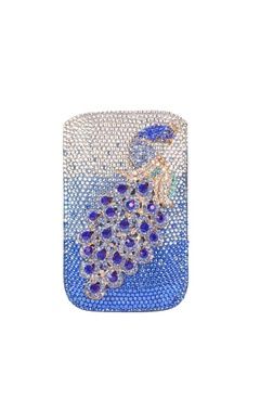 Royal blue peacock dimante mobile pouch