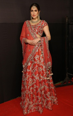 Vikram Phadnis Raw silk zardozi embroidered lehenga set