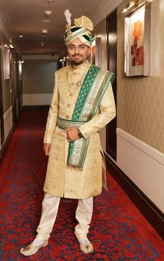 champagne sherwani with dupatta & waist belt