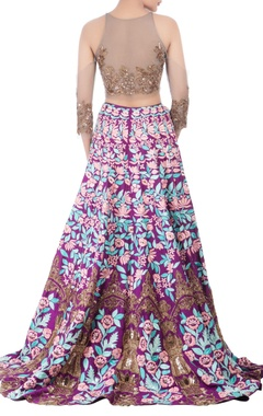 Purple lehenga with grey blouse & pink dupatta