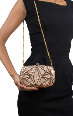 Gold metal with gold sequins clutch