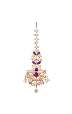 Gold leaf maangtikka with purple crystal and pearl