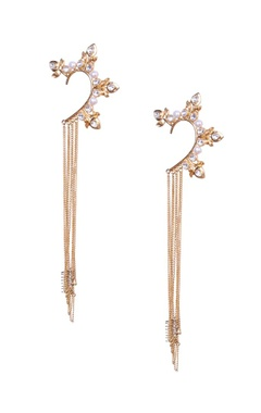 Pearl and crystal earcuffs with gold chain tassels