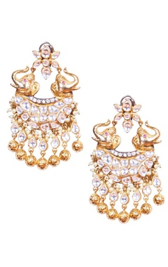 Silver kundan elephant earrings