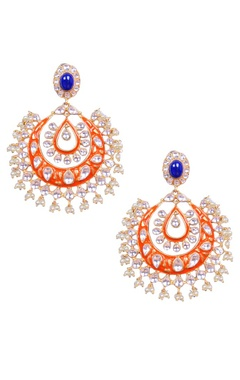 Orange and silver kundan chandbalis
