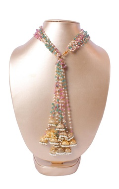 gold pearl beaded necklace with jhumkas