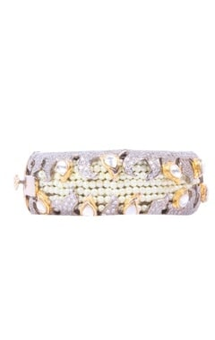 Gold and silver dimante cuff with pearls
