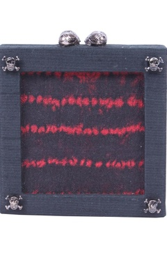 black and red dyed square clutch
