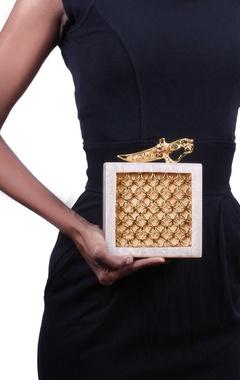 Ivory resin embellished clutch