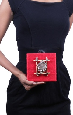 Red stone embellished square clutch