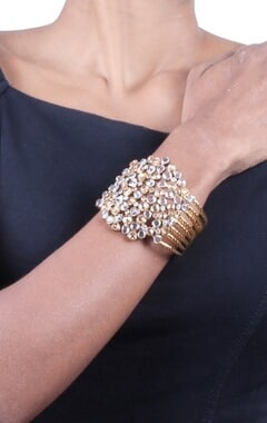 Pale grey and champagne gold crystal cuff