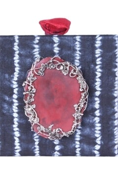 Indigo dyed embellished square clutch