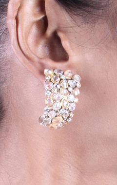 Light grey and champagne gold crystal earrings