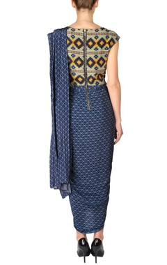 Cobalt blue & yellow aztec draped sari dress