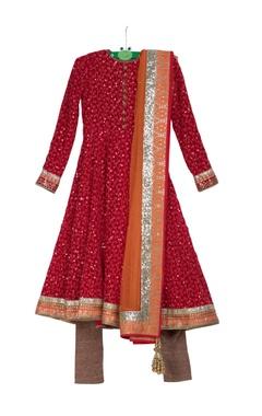 Red pre-embroidered anarkali kurta with churidar & net dupatta