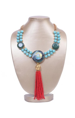 Turquoise stones with red tassels necklace
