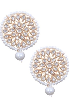 Pearl and kundan motif earrings