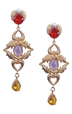 Gold rococo red and yellow dangler earrings