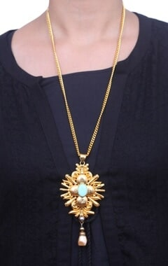 Gold plated turquoise stone necklace