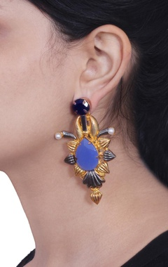 Black, gold and blue petal shaped earrings