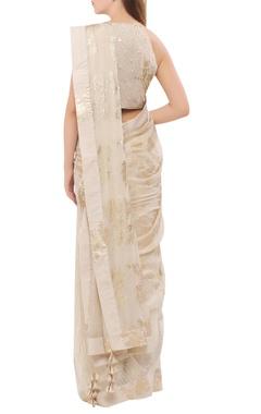 Chiffon foil print sari with sequin blouse