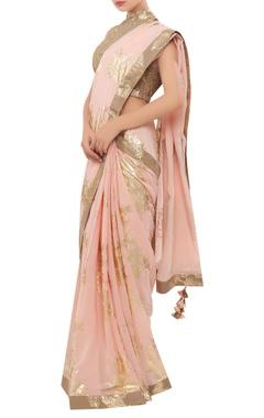 Nikasha Crepe silk foil printed sari with halter blouse