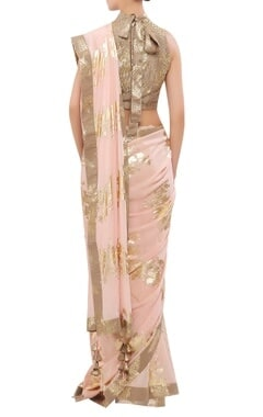 Crepe silk foil printed sari with halter blouse