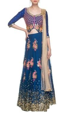 Imperial blue sequin work lehenga set