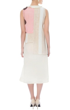 Off-white and pink layered knee length dress