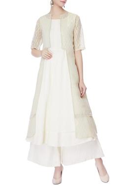 off-white kurta with palazzos & jacket