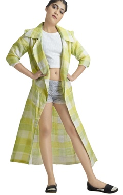 Green & yellow checkered print long jacket