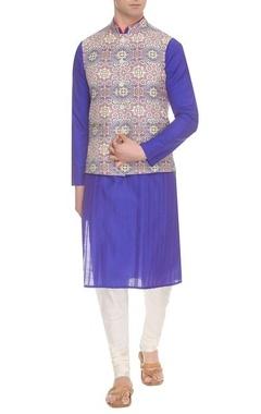 Ivory & multi-colored kalaidescope printed nehru jacket