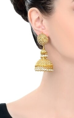 gold finish pair of studded jhumkas