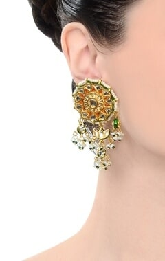 Gold finish kundan chandelier earrings