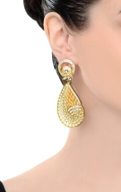 gold finish studded drop earrings