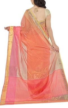 Peach and pink striped chanderi sari