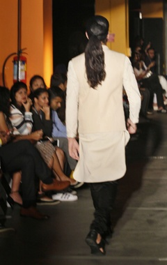 Cream silk kurta, pants & bandi jacket