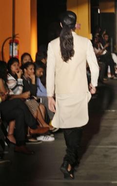 cream silk kurta, pants & bandi jacket