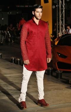red silk kurta & trouser set