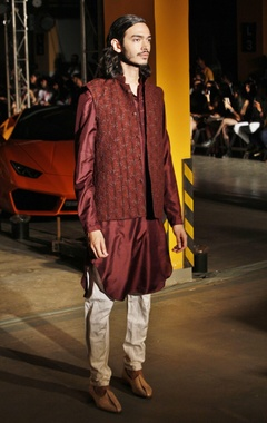 Honey brown silk kurta, churidaar & bandi jacket