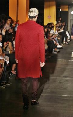 Red silk embroidered sherwani