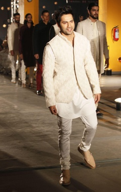 ivory kurta, churidaar & bandi jacket
