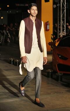 Silk kurta, trousers & bandi jacket