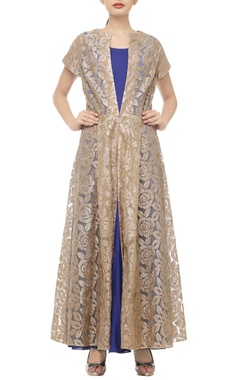 blue, beige & gold rose-embroidered jacket with dress