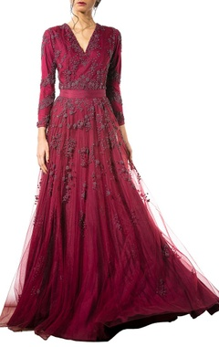 Wine bead embellished gown