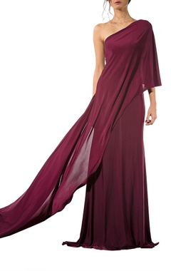 Wine draped gown with trail