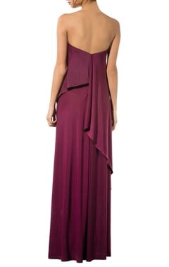 Wine strapless draped gown
