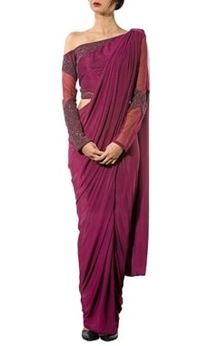 Wine off shoulder embellished concept sari