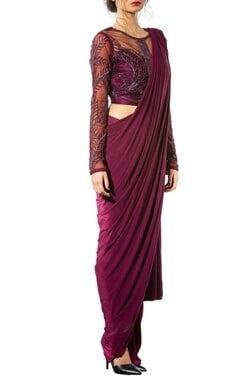 Wine sheer embellished concept sari