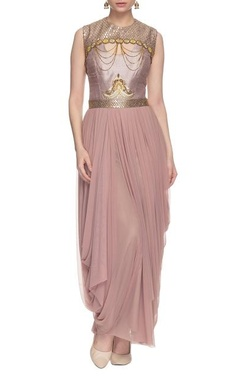 lavendar draped dress with chain details